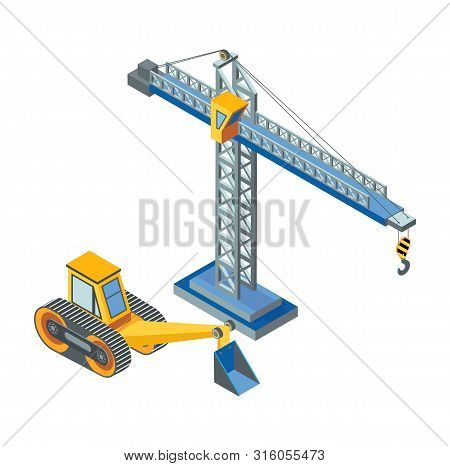 Excavator With Bucket, Lifting Crane Industrial Construction Isolated Icons Vector. Working Machiner