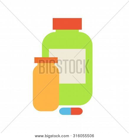 Containers Food Supplement For People Training In Gyms. Isolated Icons Set Of Plastic Bottles Pilule