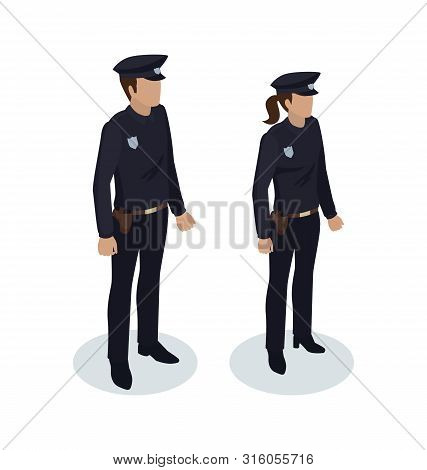 Policewoman And Policeman People In Black Uniform With Badges. Worker Protecting From Criminals. Cop