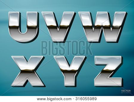 Vector Realistic Chrome Letters With Landscape Relection, On A Bright Blue Car Background. U, V, W.