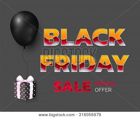 Black Friday Best Cheap Prices, Sale Of Shops Vector. Inflatable Balloon Present With Bow And Wrappi