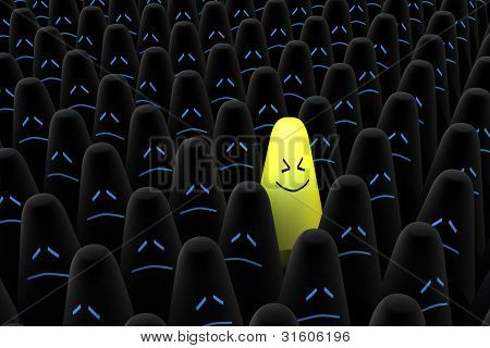 Smiling Cone In The Center Of Black Crowd