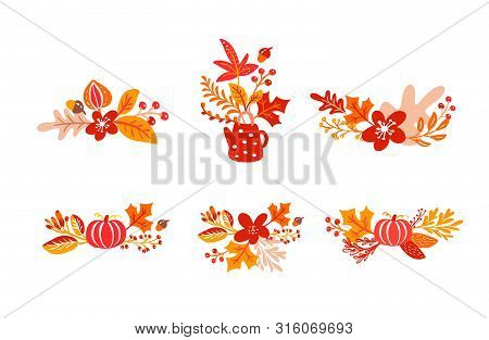Bundle Set Of Orange Autumn Leaves Bouquets With Teapot. Leaves Of Maple With Cup, With Pumpkin, Wit