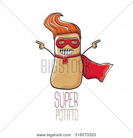 Vector Funny Cartoon Cute Brown Super Hero Potato With Red Hero Cape Isolated On White Background. M
