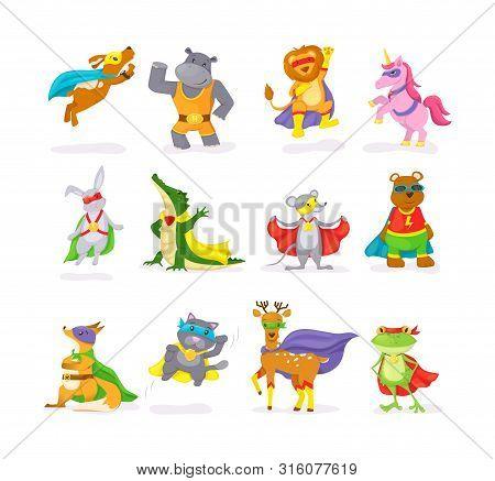 Cute Superhero Animal Kids With A Superhero Cape And Masks.