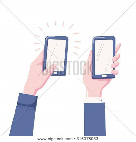 Two Variants Of Human Hand Holding Mobile Phone, Smartphone With Blank, Empty Screen, Flat Style Vec