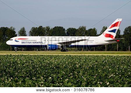 Amsterdam / Netherlands - July 3, 2017: British Airways Boeing 767-300 G-bnwb Passenger Plane Taxiin