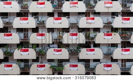 Singapore - 2019-08-07:  Flying The Singapore Flag High. Celebrating 54th Birthday.