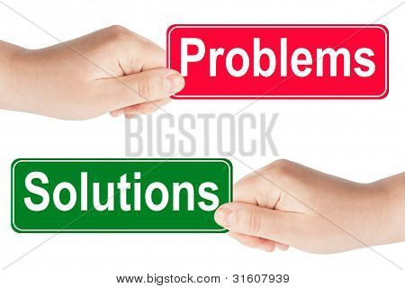 Problems And Solutions Traffic Sign In The Hand