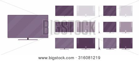 Lcd Tv Set System. Liquid Crystal Display Television Technology For Home Theater Setup, Wide Screen.