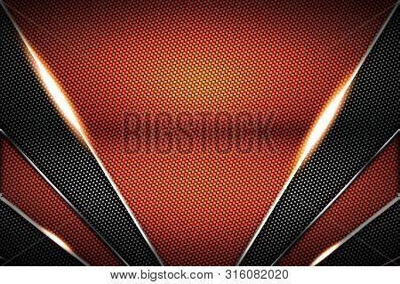 Orange And Black Carbon Fiber And Chromium Frame. Metal Background. Material Design. 3d Illustration