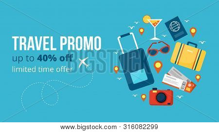 Travel Promo Banner Vector Illustration. Template With Profitable Proposition Of Discount Up To 40 P
