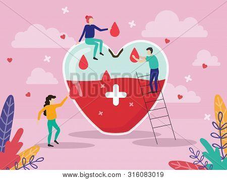 Giant Heart Medicine Design Poster Vector Illustration. Volunteers Put Lifeblood In Heart-shaped Gla