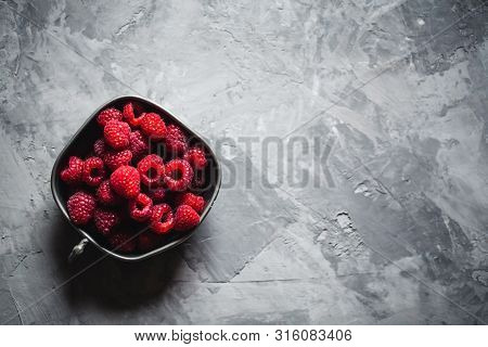 Raspberry On A Gray Background. Healthy Food, Vintage Style A