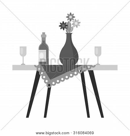 Isolated Object Of Table And Vase Sign. Set Of Table And Diner Stock Vector Illustration.