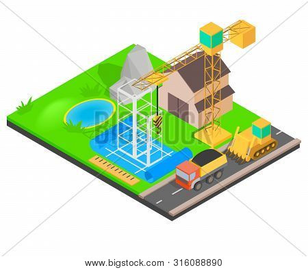 Erect Concept Banner. Isometric Banner Of Erect Vector Concept For Web, Giftcard And Postcard