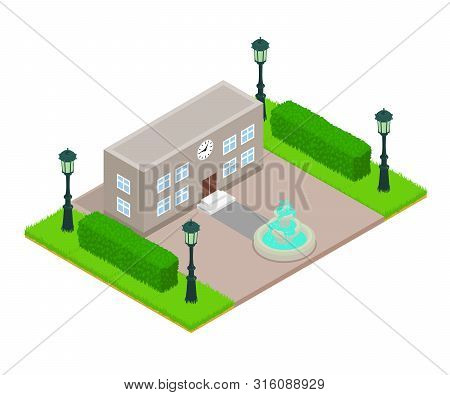 Office Building Concept Banner. Isometric Banner Of Office Building Vector Concept For Web, Giftcard