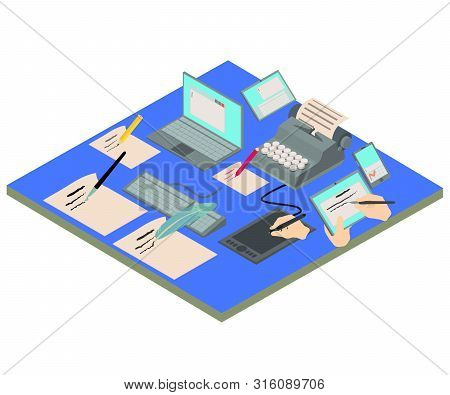 Compose Concept Banner. Isometric Banner Of Compose Vector Concept For Web, Giftcard And Postcard