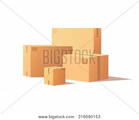 Template Of Shopping Packages Packed By Adhesive Tape, Vector Isolated Big And Small Boxes. Wholesal
