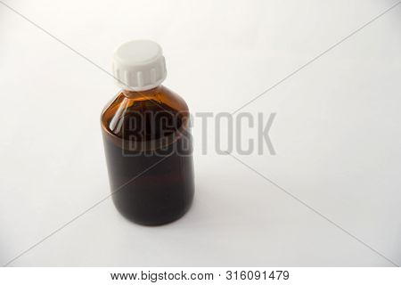 Front View Medical Glass Bottle Isolated On White