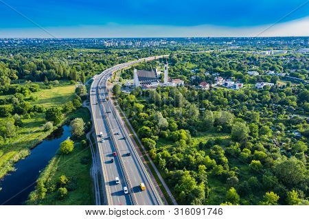 Aerial Drone Flight Top Down View Of Freeway Busy City Rush Hour Heavy Traffic Jam Highway. Aerial V