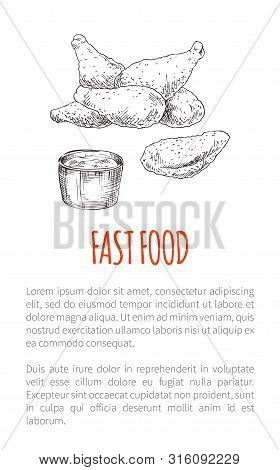 Fast Food Fried Chicken Poster An Text Sample. Drumsticks And Sauce In Bowl. Crispy Snack Meat Lunch