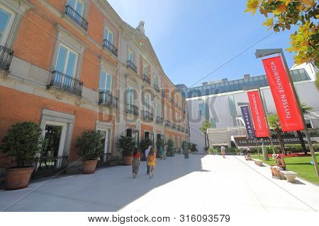 Madrid Spain - May 28, 2019: Unidentified People Visit National Museum Of Thyssen Bornemisza