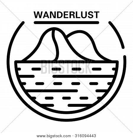 Wanderlust Logo. Outline Wanderlust Vector Logo For Web Design Isolated On White Background