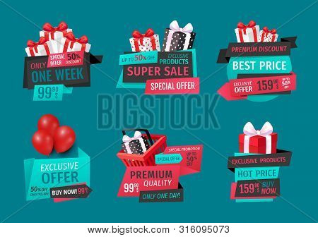 Super Sale, Best Price On Exclusive Products, One Week Set Vector. Special Proposition, Stores Promo