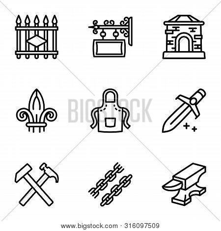 Blacksmith Collection Icon Set. Outline Set Of 9 Blacksmith Collection Vector Icons For Web Design I