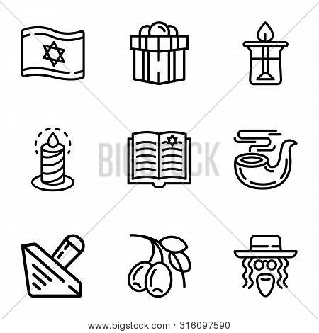 Judaism Objects Icon Set. Outline Set Of 9 Judaism Objects Vector Icons For Web Design Isolated On W