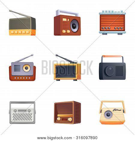 Tuner Radio Icons Set. Cartoon Set Of Tuner Radio Vector Icons For Web Design