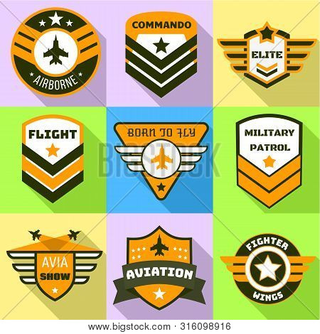 Military Patrol Logo Set. Flat Set Of 9 Military Patrol Vector Logo For Web Design Isolated On White