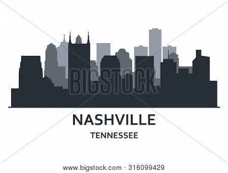 Silhouette Of Nashville City, Tennessee -   Cityscape Of Nashville, Skyline Of Downtown