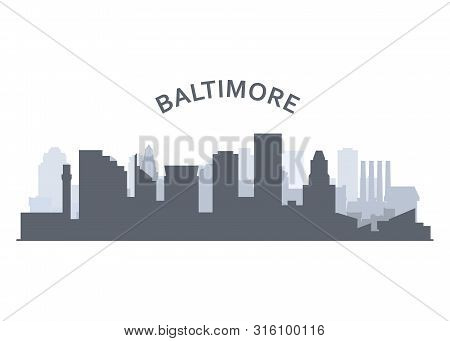 Silhouette Of Baltimore Skyline - Baltimore Panorama, City Downtown Outline