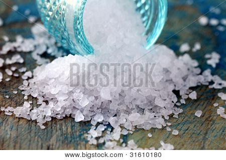 Sea large white salt is a  on a wooden board