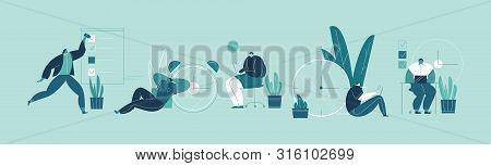 Set of people successfully organizing their appointments and tasks . Situations and office scenes with efficient and effective time management and multitasking at work. Flat vector illustration. poster