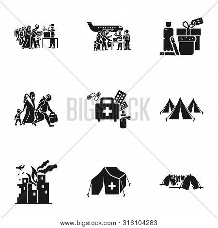 Migrant Refugee Icon Set. Simple Set Of 9 Migrant Refugee Vector Icons For Web Design Isolated On Wh