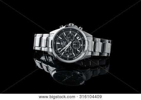 Bangkok, Thailand - 08 8 2019: Casio Edifice Watch Brand. Japan Watch. Luxury Watch Isolated On A Bl