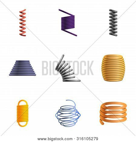 Elastic Coil Spring Icon Set. Cartoon Set Of 9 Elastic Coil Spring Vector Icons For Web Design Isola