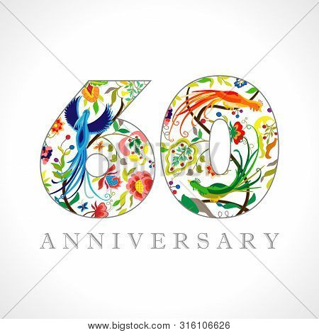 60 Years Old Logotype. 60 Th Anniversary Numbers. Decorative Symbol. Age Congrats With Peacock Birds