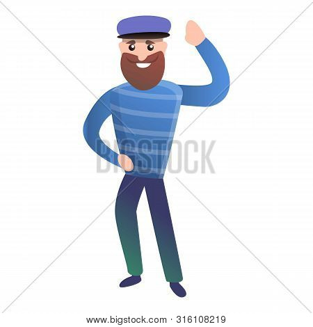 Sailor Say Hi Icon. Cartoon Of Sailor Say Hi Vector Icon For Web Design Isolated On White Background