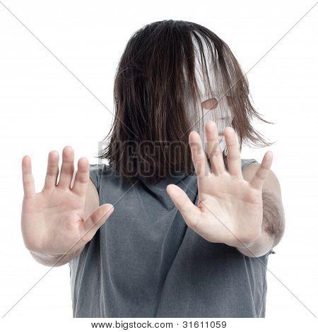 Horror Scary Man Gesturing Stop