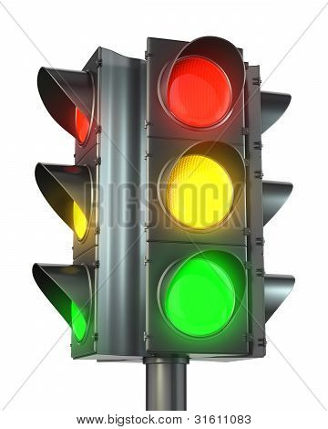 Four Sided Traffic Light With Red, Yellow And Green