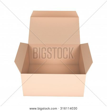 Box. Flat Open Paper Carton. 3d Rendering Illustration Isolated On White Background