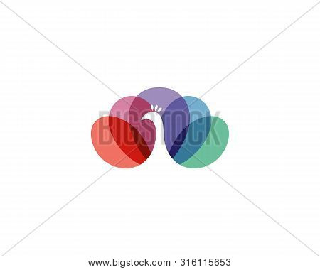 Colorful Peacock Bird In Negative Space Vector Logo. Beautiful Peafowl Tail Icon Logotype.