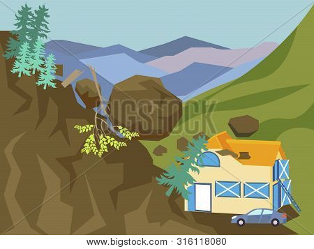Landslide. The Building Is Falling Asleep With Mountain, Earth. In Minimalist Style Cartoon Flat Vec