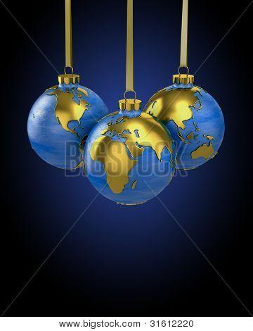 Three Christmas Balls Shaped As Globe Or Planet