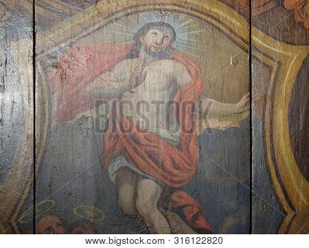 VELIKA MLAKA, CROATIA - MARCH 28: Resurrection of Christ, altarpiece in the Church of the Saint Barbara in Velika Mlaka, Croatia on March 28, 2017.