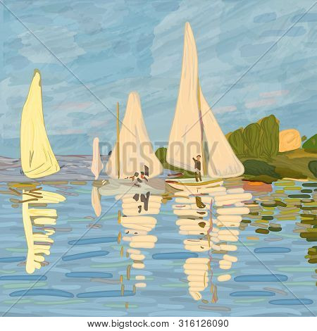 Sailboats In Claude Monet Style. Digital Element Of The Painting
